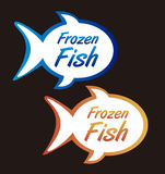 Frozen fish tags. Isolated over black background. vector Stock Images
