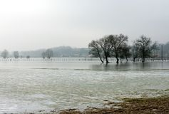 Frozen Floodwaters, France Stock Photography