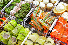 Frozen food. Assortment of frozen stuffed food  in shop Royalty Free Stock Image