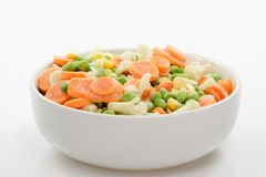 Frozen Food. Frozen vegetables in a bowl on light background Stock Image
