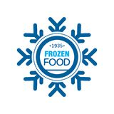 Frozen food since 1935, abstract label for freezing with snowflake vector Illustration Royalty Free Stock Photos