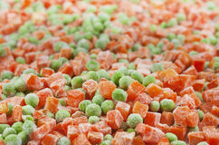 Frozen food carrots and peas Royalty Free Stock Photo