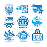 Frozen food product set of logo templates hand drawn vector Illustrations in blue colors Royalty Free Stock Image