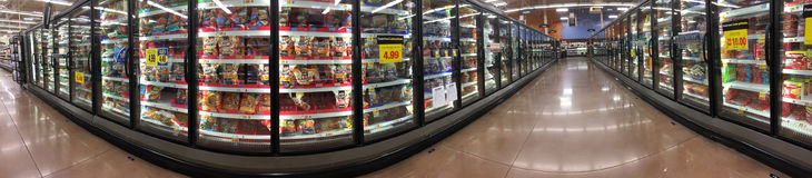 Frozen food in refrigeration for sale. At supermarket, TX USA, panoramas picture Stock Photos