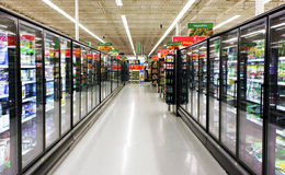 Frozen foods aisle stock images