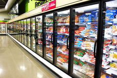 Frozen foods aisle stock photography