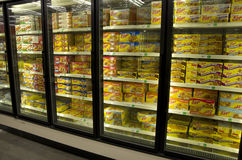 Frozen foods meat supermarket Royalty Free Stock Photography