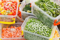 Frozen foods recipes vegetables. In plastic containers. Healthy freezer food and meals royalty free stock image