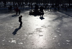 Frozen fountain children play silhouette Royalty Free Stock Photo