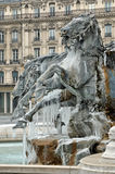 Frozen fountain in Lyon (france) Royalty Free Stock Photos