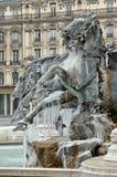 Frozen fountain in Lyon (france) Royalty Free Stock Photos