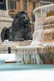 Frozen fountains at trafalgar Square, London, UK. London, England. 1st March 2018. EDITORIAL - The fountains and water features at Trafalgar Square, London are Royalty Free Stock Photo