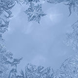Frozen Frame. Ice, Frost and Snowflakes on the borders with space for text in the middle Royalty Free Stock Photography