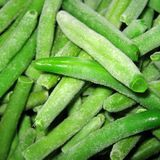 Frozen french beans. On a kitchen table Royalty Free Stock Photos