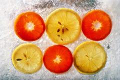 Frozen fruit. Color chilled/quick-frozen fruit Royalty Free Stock Photo