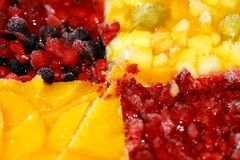 Frozen fruit on a cake Stock Photography