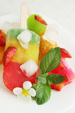 Frozen fruit juice. With mint and strawberries Royalty Free Stock Photography