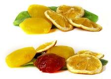 Frozen fruit, lemon juice frozen ice cubes isolated on white ba stock photo