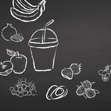 Frozen fruit smoothie to go on chalkboard Royalty Free Stock Photo