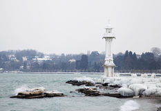 Frozen Geneva lighthouse Stock Image