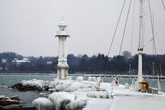 Frozen Geneva lighthouse Stock Photos