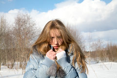Frozen girl in the  winter afternoon Royalty Free Stock Images