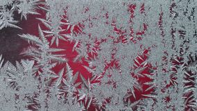 Frozen glass with ice. Winter ice frost, frozen background. Macro detail of frosted window glass texture Royalty Free Stock Photography