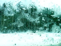 Frozen glass. View through the frozen glass Royalty Free Stock Image
