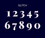 Frozen glitch screen distortion vector numbers black. Frozen glitch screen distortion vector numbers digital font noise old problem retro set style television vector illustration
