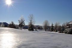 Frozen golf course Stock Photo