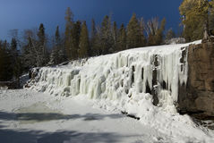 Frozen Gooseberry falls along lake Superiors northern shore. Stock Photo