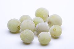 Frozen grapes. Isolated green grapes with frost deposit Royalty Free Stock Photography