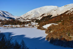 Frozen Grasmere and Dunmail Raise Royalty Free Stock Images