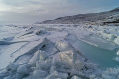 Frozen Greenland. Frozen sea with beautiful ice formations at Sondre Stromfjord, Kangerlussuaq, Greenland Stock Image