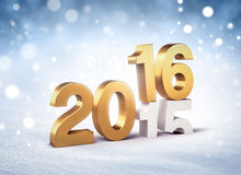 2016 frozen greeting card. 3D New Year gold 2016 over 2015 on a winter snow background Stock Photography