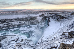 Frozen Gullfoss Sunset Stock Photo