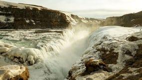 Gullfoss waterfall in Iceland. Frozen Gullfoss waterfall in Iceland royalty free stock images