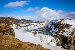 Frozen Gullfoss Waterfall, Iceland Stock Photos