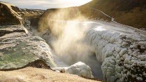 Frozen Gullfoss waterfall in Iceland. Frozen Gullfoss waterfall in Iceland with Spray stock photos