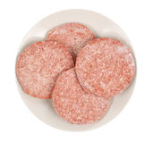 Frozen hamburger meat Royalty Free Stock Images