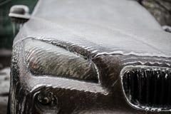 Frozen headlight of a car royalty free stock photos