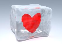 Frozen heart. 3d illustration of piece of ice with frozen heart Royalty Free Stock Images