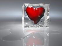 Frozen heart. Heart frozen in an ice cube - 3d render royalty free illustration