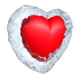 Frozen heart in ice shell Stock Images