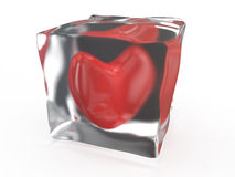 Frozen heart. In ice on white background Stock Photography