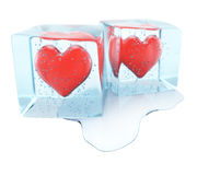 Frozen hearts Stock Photos