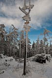 Frozen hiking trails guidepost on Malinowska Skala hill Stock Photography