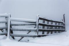 Frozen hoarfrost wooden fence Royalty Free Stock Photo
