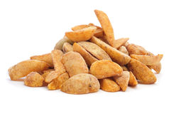 Frozen home fries. A pile of frozen home fries ready to fry on a white background Royalty Free Stock Images