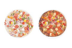 Frozen vs. hot pizza Stock Photo